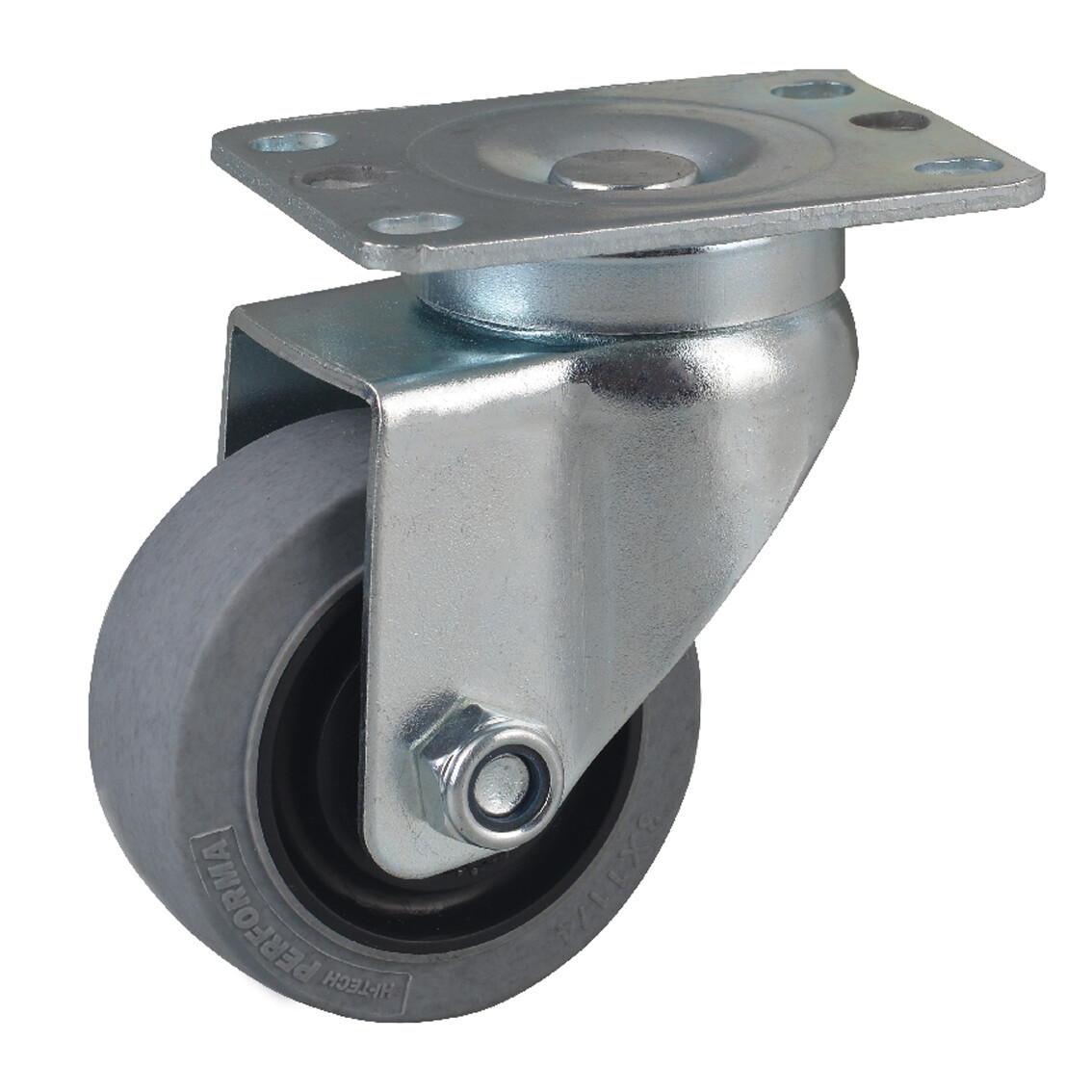 Plate type swivel conductive caster, grey