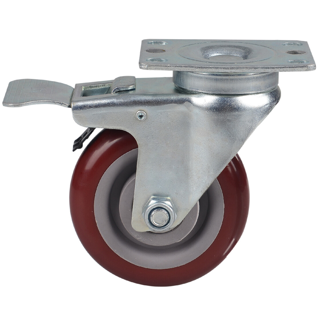 Plate type swivel PVC caster with brake, red