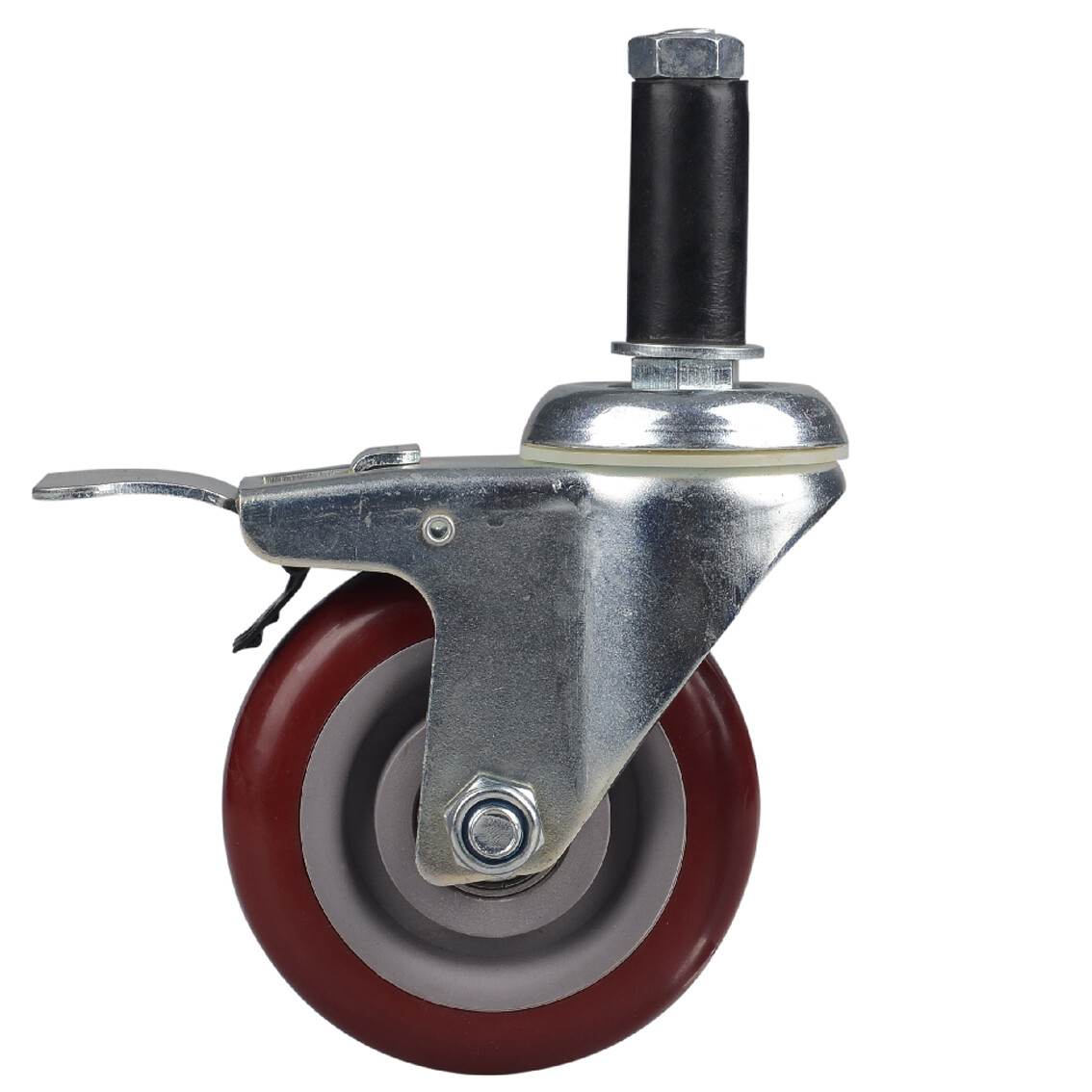 Stem swivel PVC caster with brake, red