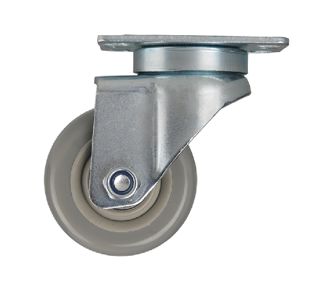 Plate type swivel PVC caster, grey