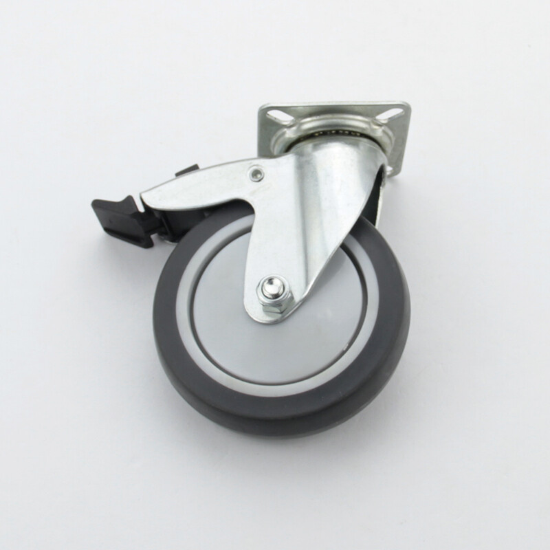 Plate swivel hole topped caster with plastic brake