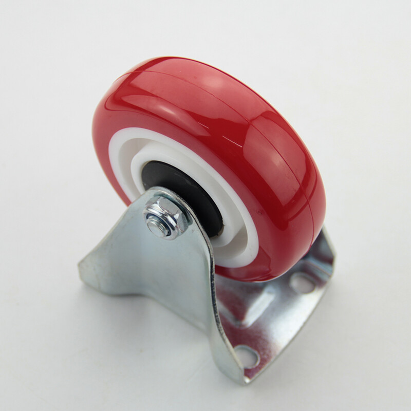 Plate fixed PU caster, red