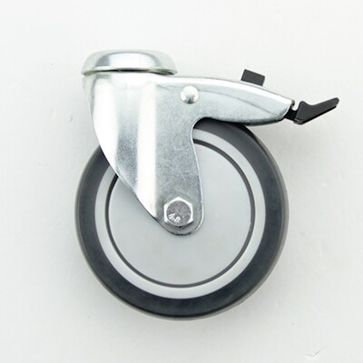 Hole topped swivel caster with plastic brake